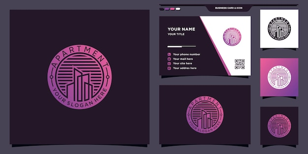 Building apartment logo with negative space circle concept and business card design premium vector