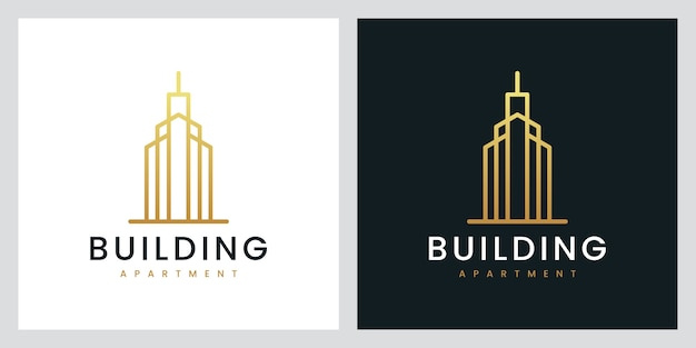 Building apartment with line art style, logo design inspiration