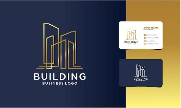 건물 건축 로고 디자인 브랜딩. 미니멀한 부동산 로고 템플릿입니다.