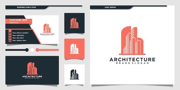 현대적인 모양과 명함 디자인으로 건물 건축 로고 디자인 premium vekto