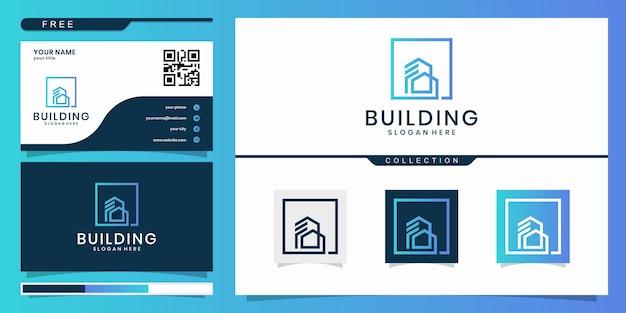 建物の建築のロゴ、ミニマリストの不動産のロゴ、豪華な建物のロゴのデザインテンプレート。ロゴデザインと名刺