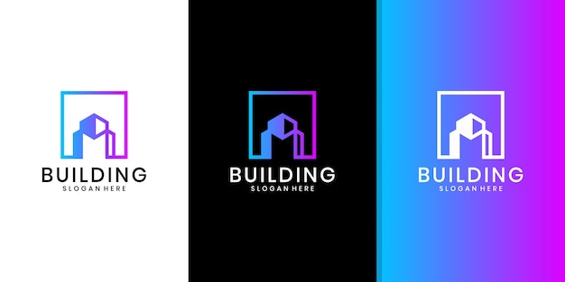 建物の建築のロゴ、ミニマリストの不動産のロゴ、豪華な建物のロゴのデザインテンプレート