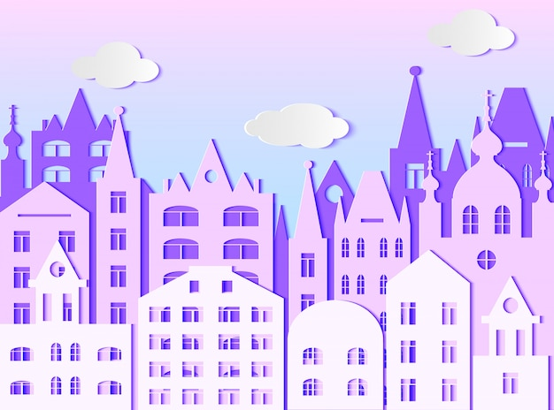 Building of big city and clouds. vector illustration. paper art style