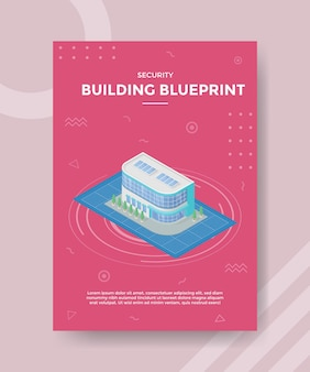 Building blueprint concept for template banner and flyer with isometric style