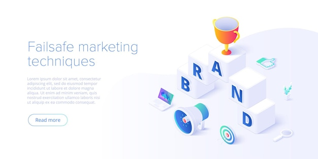 Building brand strategy in isometric  illustration. identity marketing and reputation management. brand persona creation. web banner layout template.