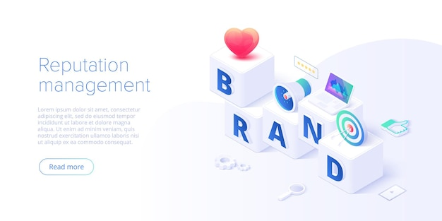 Building brand strategy in isometric vector illustration. identity marketing and reputation management. brand persona creation. web banner layout template.