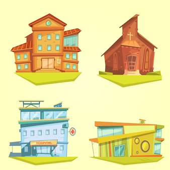Building cartoon set with hospital church and school on yellow background