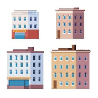 Строительство города дома город изолированные набор.