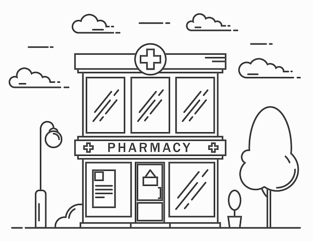 The building of the city pharmacy. the landscape of the street. a line vector illustration.