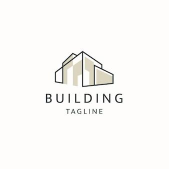 ラインスタイルのロゴアイコンデザインテンプレートフラットベクトルで都市を構築する