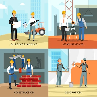 Building concept icons set with planning symbols flat isolated vector illustration