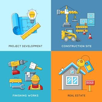 건물 개념. 엔지니어링 및 건설, 마감 작업 및 부동산 주택.