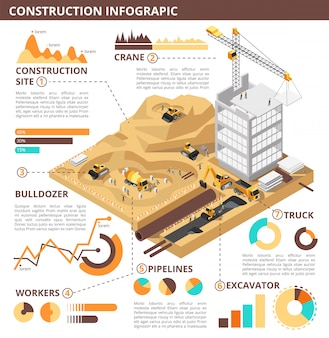 Building construction 3d isometric vector industrial infographic template
