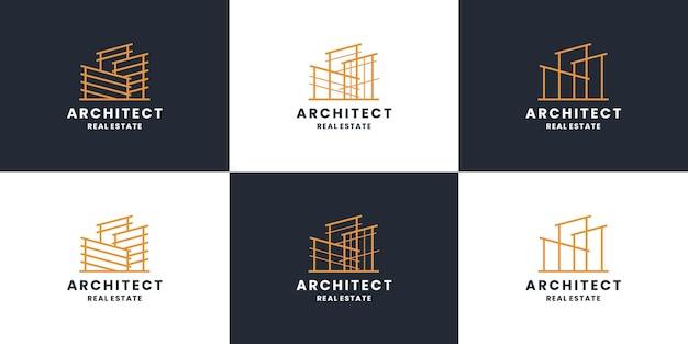 建物の建設、建築家のロゴデザインコレクション。不動産、請負業者。