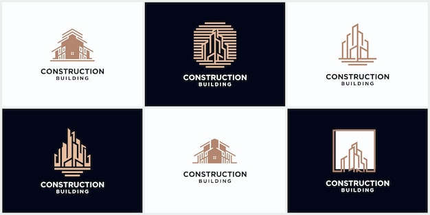 Building construction business logo in brown color. geometric line logo. real estate logo template vector icon design