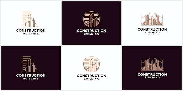 갈색 색상의 건물 건설 비즈니스 로고입니다. 기하학적 라인 로고. 부동산 로고 템플릿 벡터 아이콘 디자인