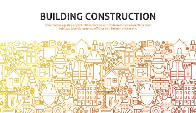 建物の建設コンセプト。ラインのウェブサイトのデザインのベクトルイラスト。バナーテンプレート。