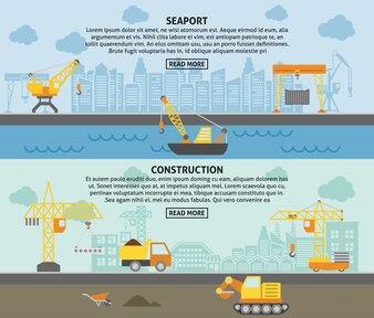 Building construction crane flat banners set