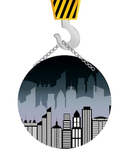 Building construction crane hanging badge