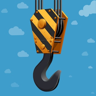Building construction crane hook in the sky concept.