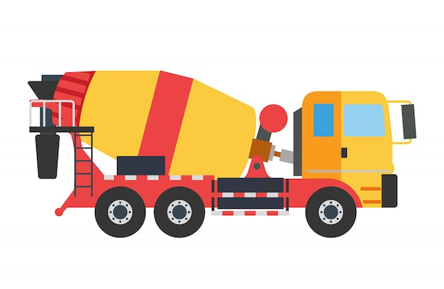 Building under construction crane machine technics illustration