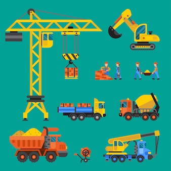 Building under construction  crane and workers buildings construction technic illustration. mixer truck builders people. under construction concept. workers in helmet tech machine isolated