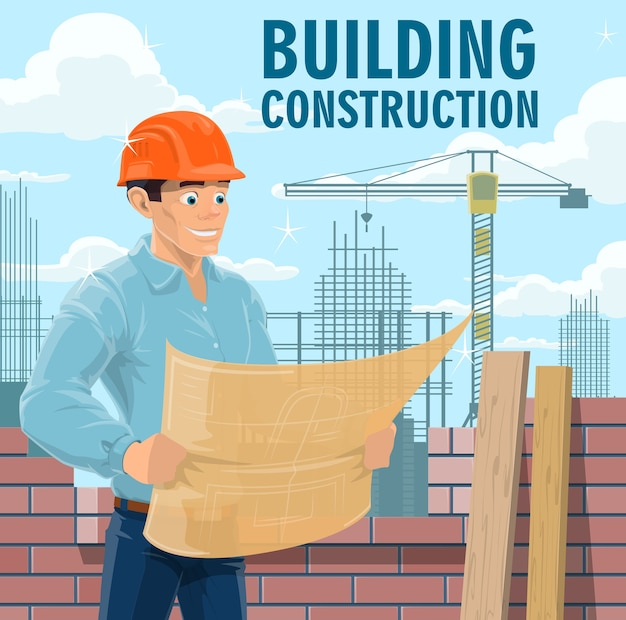 Building construction engineer, architect or contractor. engineer in safety helmet looking on blueprint, architect studying building drawings and construction company contractor reading plan