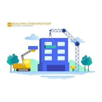 Building construction flat illustration city build