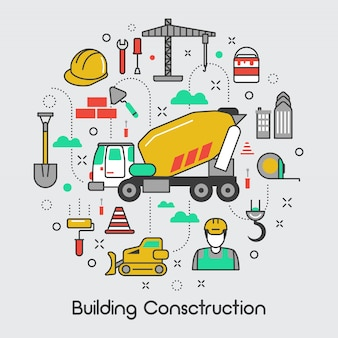 Building construction icons set with crane and tools