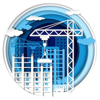ペーパーアートスタイルの建物の建設