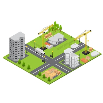 Building construction in isometric view