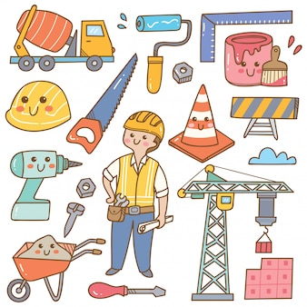 Building and construction kawaii doodle