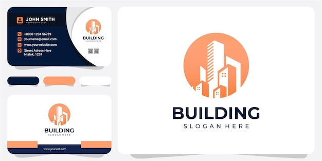 Building construction logo design in the circle with business card