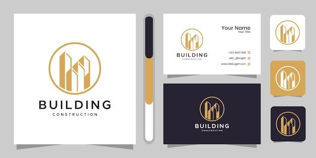 건물 건설 로고 디자인 영감과 명함.