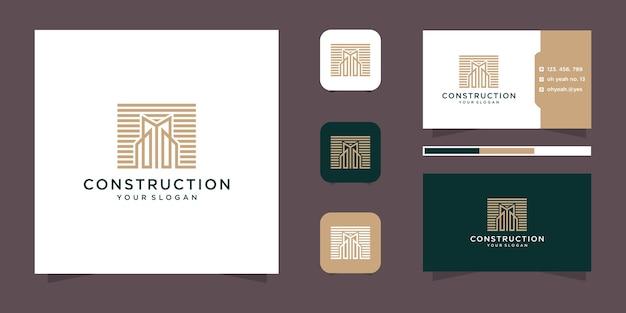 Вдохновение дизайна логотипа строительства строительства и визитная карточка.