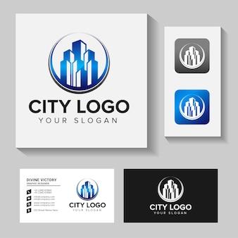 建物の建設ロゴデザインのインスピレーション。ロゴデザインと名刺