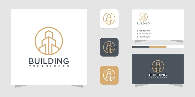 Building construction logo design inspiration. logo design and business card.
