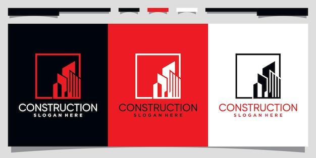 ラインアートスタイルのプレミアムベクトルで建設ロゴデザインテンプレートを構築する