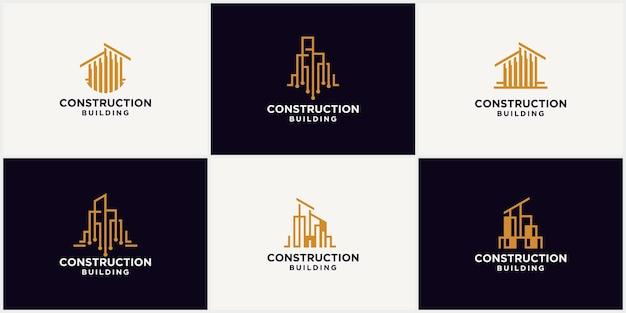 建物の建設のロゴ、現代の不動産ビジネスのロゴ、建築代理店、建築、不動産、インテリアデザインの創造的なロゴのベクトル図。