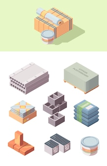 Building construction materials isometric set. bobbin linoleum bucket glue box tiles concrete blocks gray cinder packaging cement bags wooden board red brick gypsum plasterboard.
