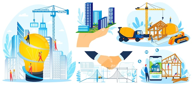 Building construction project design vector illustration set, cartoon flat tiny worker builder people construct build modern house