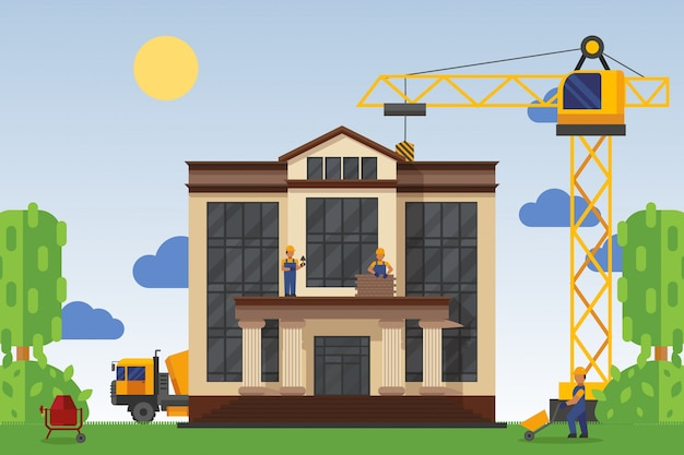Building under construction with workers,  illustration. construction home public building, use special equipment.