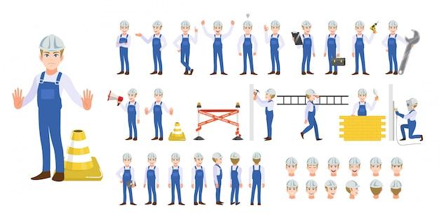Building construction worker cartoon character set
