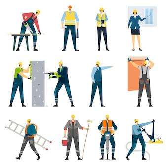 건물 건설 노동자 계약자 엔지니어 건축가 건축업자 수리 노동자 벡터 세트