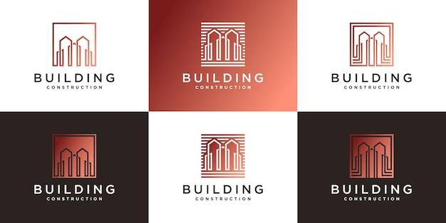 モダンなラインアートスタイルで建設ロゴデザインテンプレートを構築する