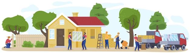 Строя загородный дом, сельская местность с задворк и деревьями, дача на природе и строители приносят иллюстрацию кирпичей.