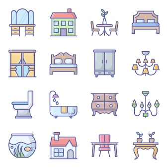 Building decor flat icons pack