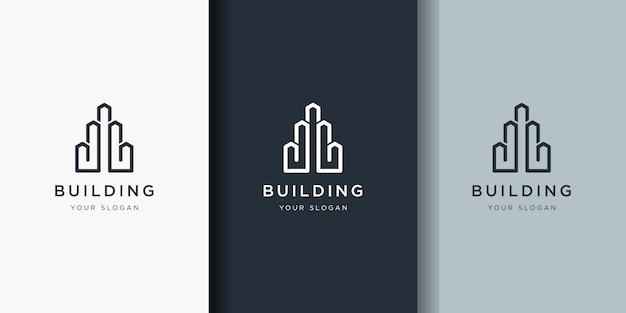 Building design logos with line art style.