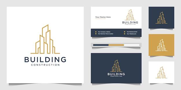 Строительный дизайн логотипов в стиле линии. символ для строительства, квартиры и архитектора. премиум дизайн логотипа и визиток.
