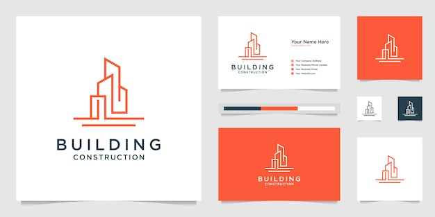 Building design logos with lines. construction, apartment and architect